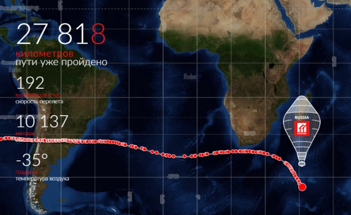 Африканский континент пройден. Шар «Мортон» летит над Индийским океаном к Австралии.