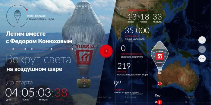 Федору Конюхову не позволяет взлететь усилившийся ветер